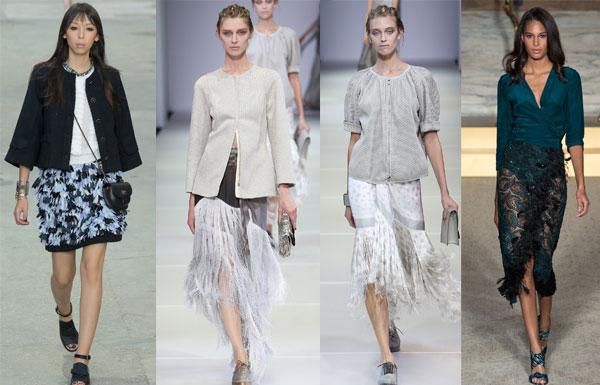 Модные юбки с перьями 2015