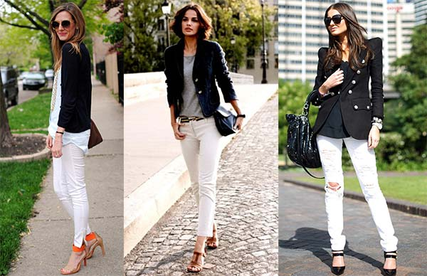 Белые джинсы в вечернем образе