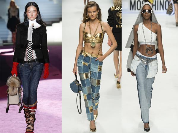 Женские джинсы в стиле пэчворк осень-зима 2015-2016