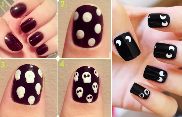 Как нарисовать черепа на ногтях