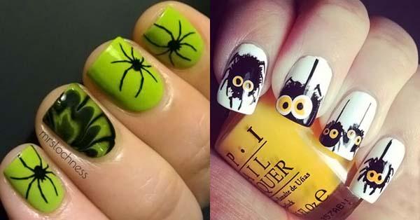 Маникюр с пауками на Хэллоуин
