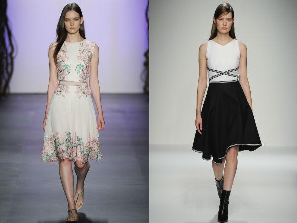 Модные платья с расклешенными юбками 2016