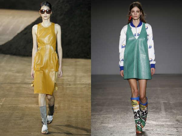 Кожаные платья весна-лето 2016