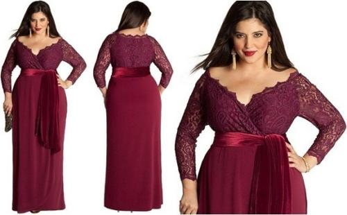 Вечернее платье для полных с V-образным вырезом 2016