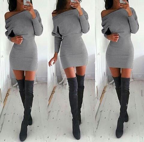 Модный образ с серыми сапогами-чулками