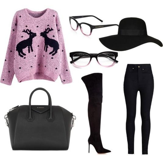 Модный образ с черными сапогами-чулками