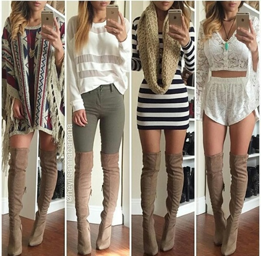 Модные луки с сапогами-чулками