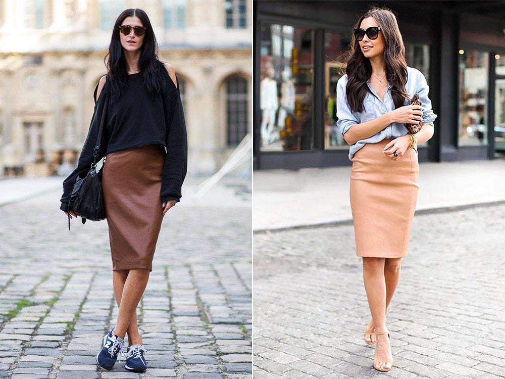 Кожаная юбка в модном образе