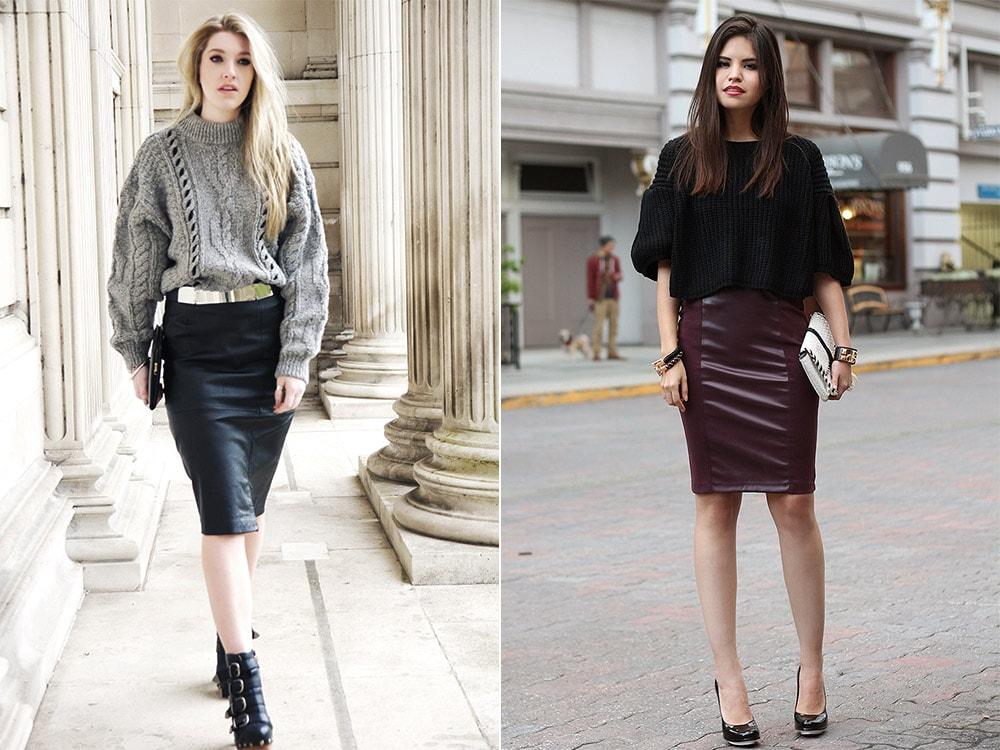 Как правильно носить кожаную юбку полным девушкам