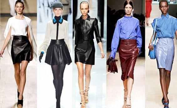 Как и с чем носить кожаную юбку?