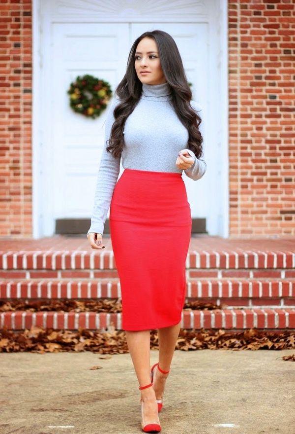 Красная юбка с гольфом
