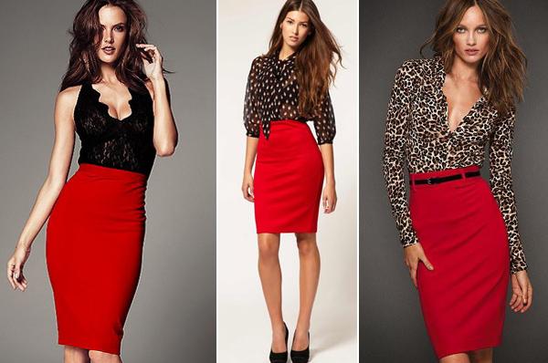 Красная юбка-карандаш с черной блузкой