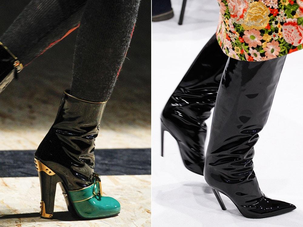 Обувь из лаковой кожи