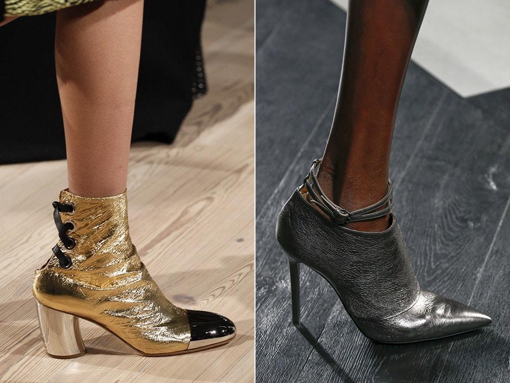 Обувь металлического цвета
