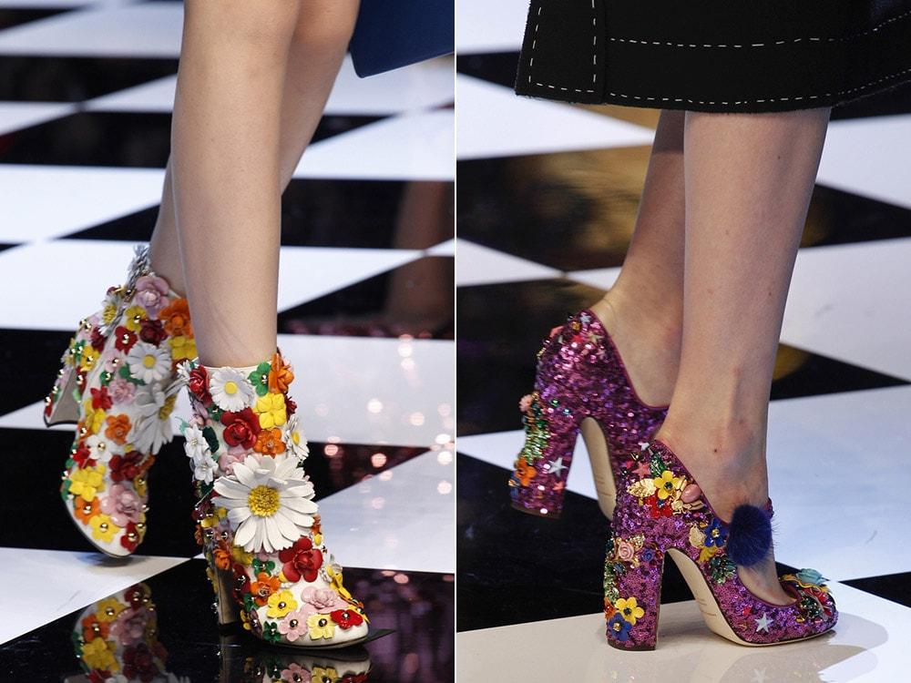 Женские сапоги и туфли с объемными цветами