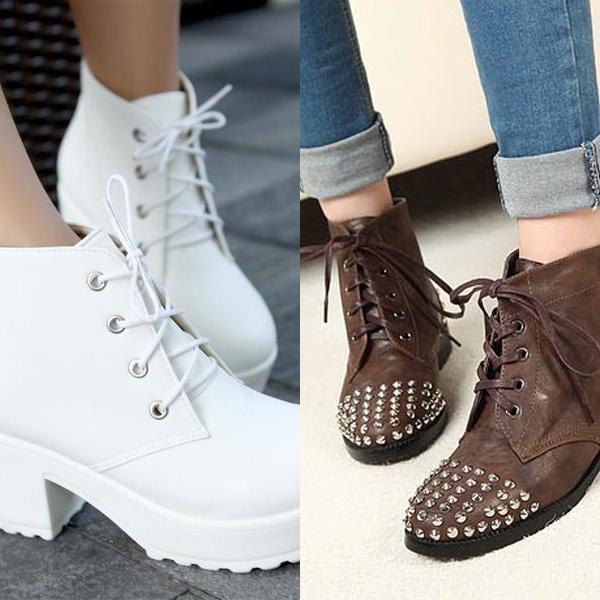 Женские ботинки с заклепками осень 2016