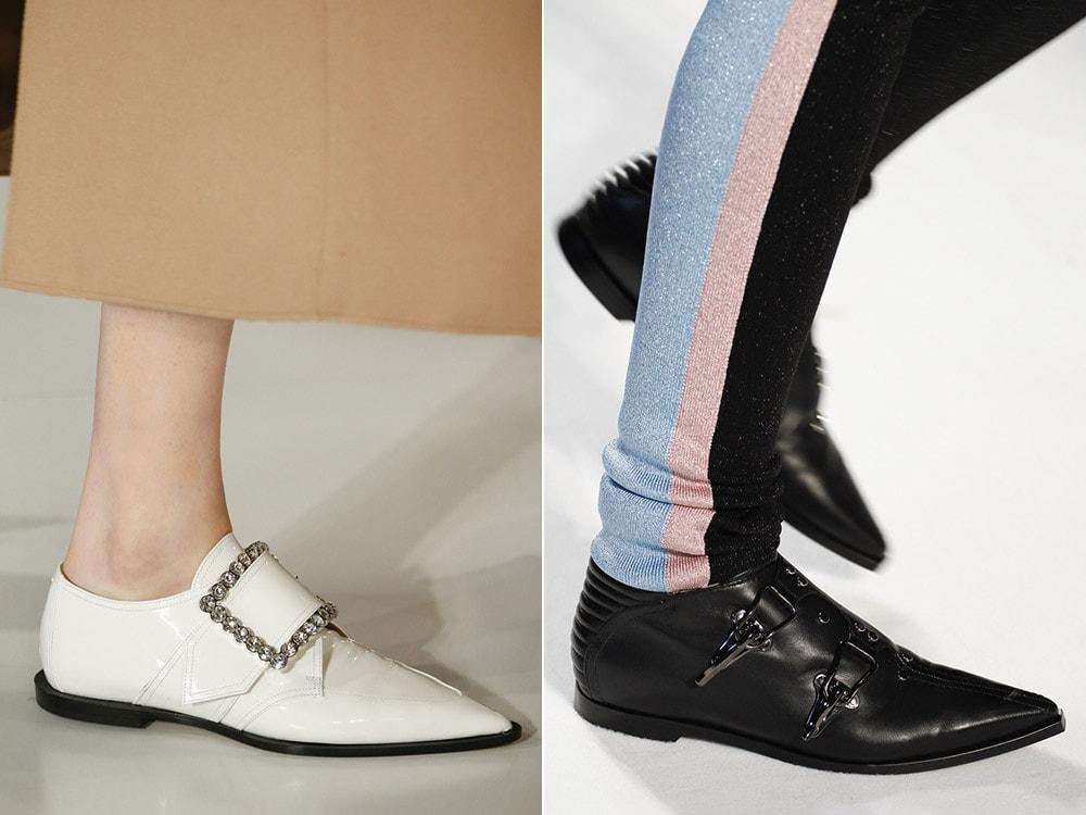 Женская обувь на плоской подошве с острым носком