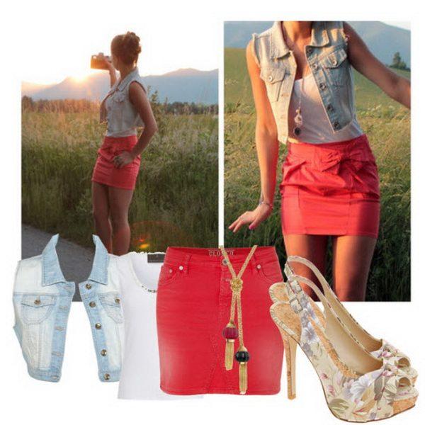 Красная юбка с джинсовой желеткой