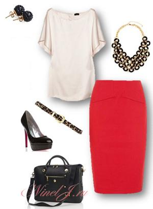 Черный туфли под красную юбку