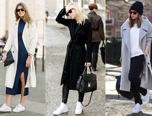 Кроссовки с плащем или пальто