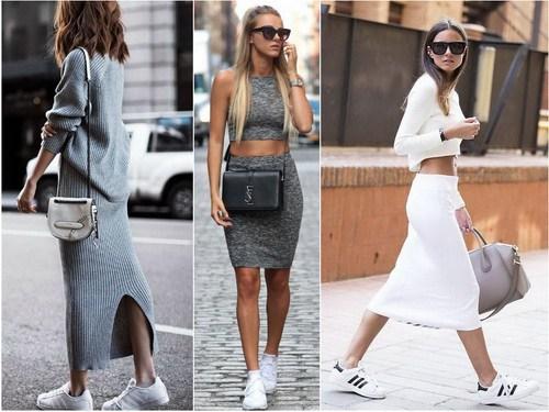 Белые кроссовки с юбкой или платьем