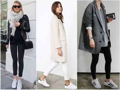 Кроссовки белого цвета с верхней одеждой