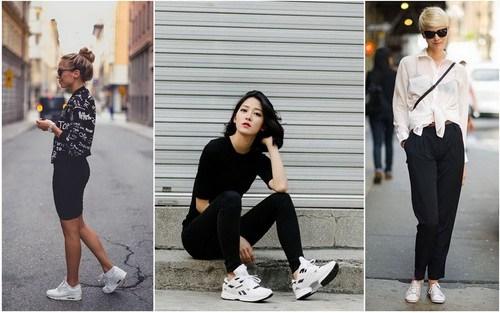 Белые кроссовки с брюками
