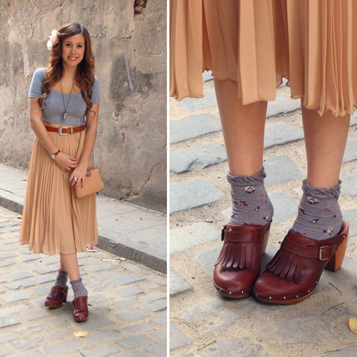 Образ в ретро-стиле с обувью сабо