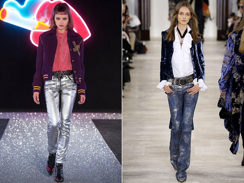 Блестящие женские джинсы