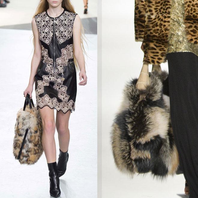 Меховая сумка с платьем