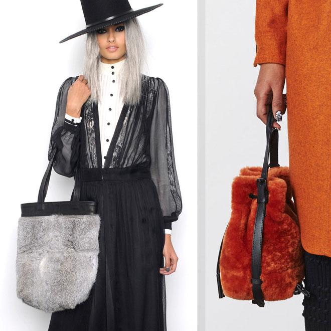 Меховая сумка с юбкой