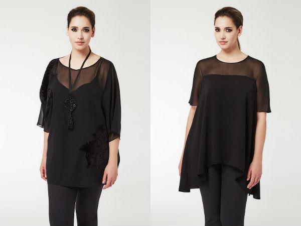 Черные блузки для полных женщин
