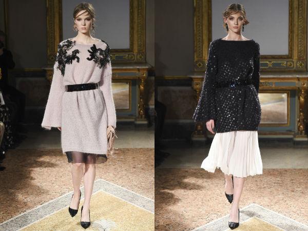 Женские свитера-платья с поясом