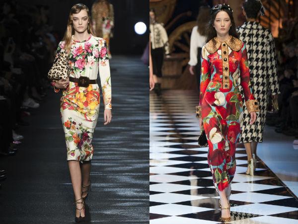 Модные деловые платья с цветочным принтом осень-зима 2016-2017