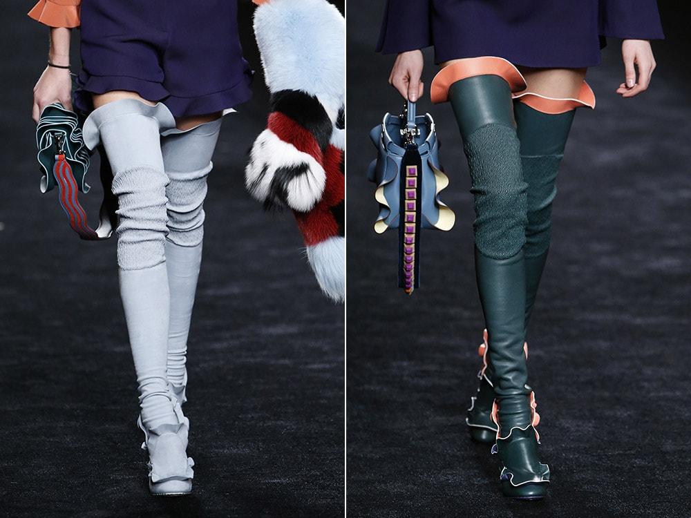 Модные сапоги чулки с рюшами