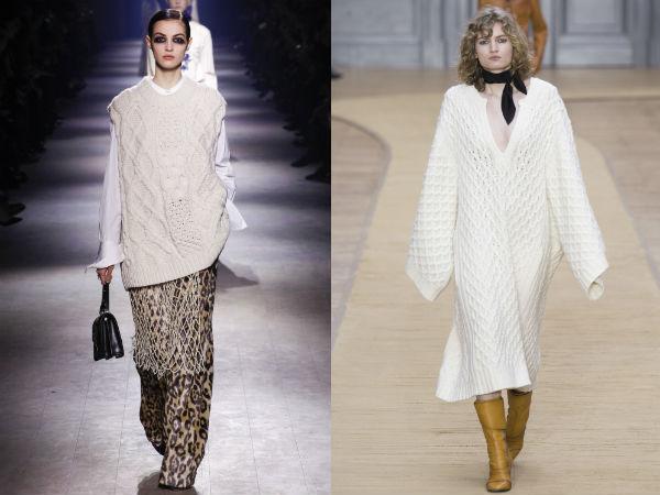 Белые свитера крупной вязки