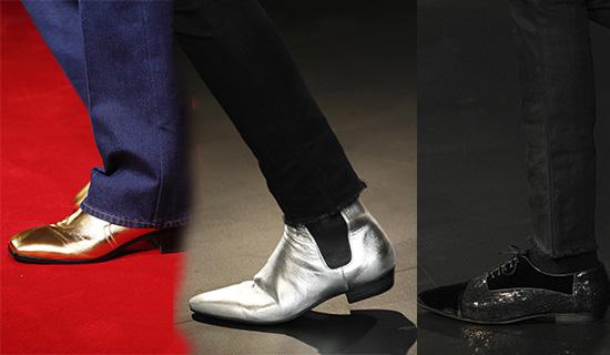 Мужские туфли золотого и серебряного цвета