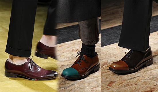 Мужские туфли с контрастным носом