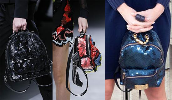 Рюкзаки, украшенные пайетками