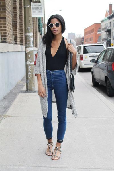 Кардиган под высокие джинсы