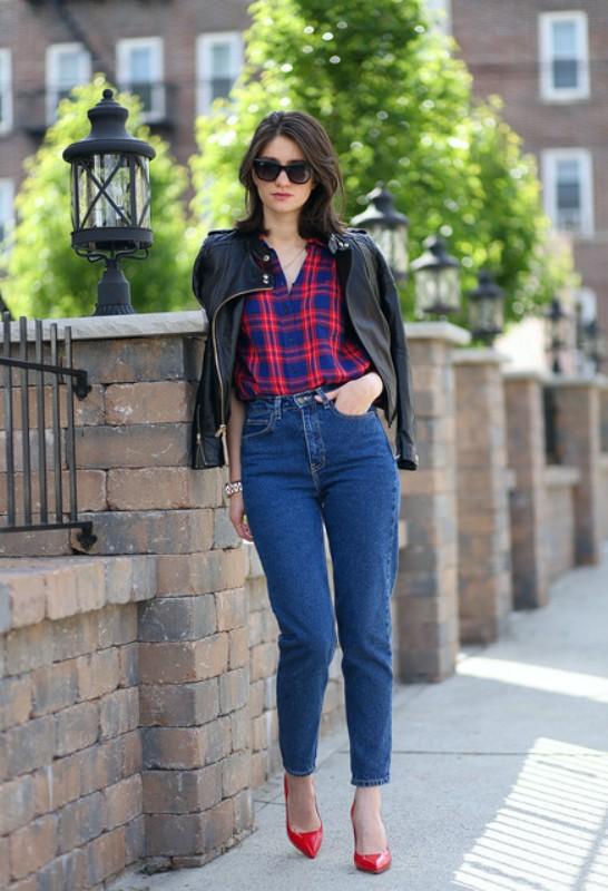 С какой курткой носить высокие джинсы