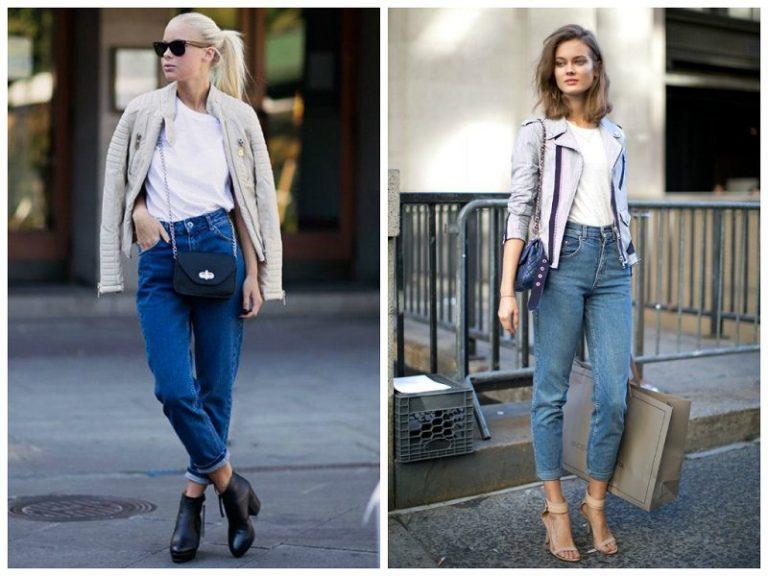 Кожаные куртки с завышенными джинсами