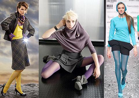 Цветные колготки в тон свитеру