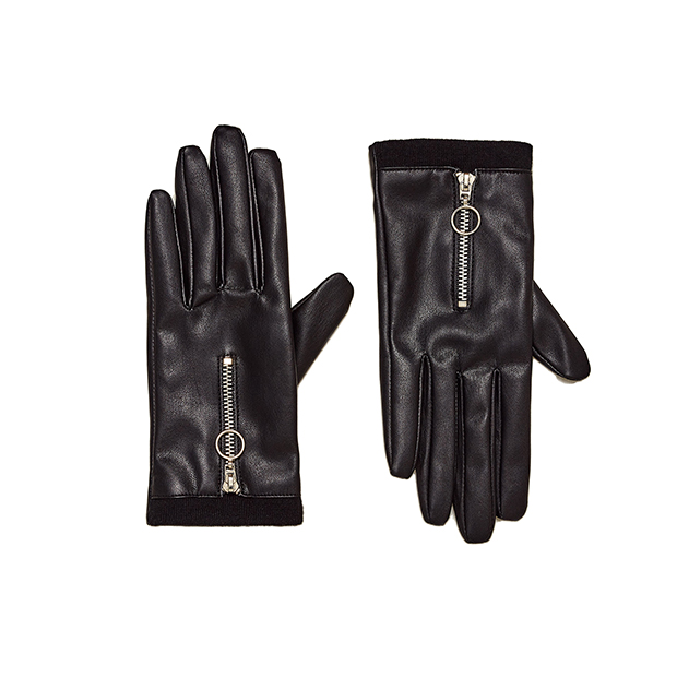 Кожаные перчатки с молнией