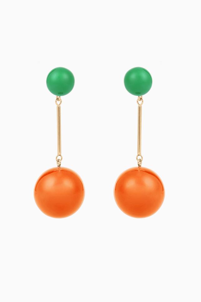 Серьги с зеленым и оранжевым камнем
