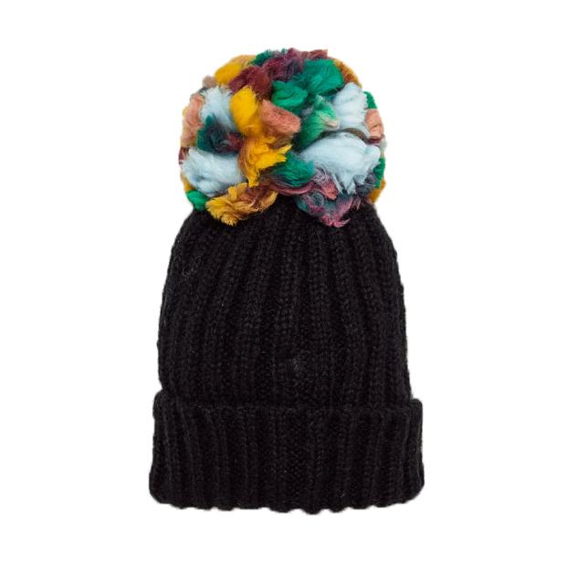 Женская шапка с цветным помпоном