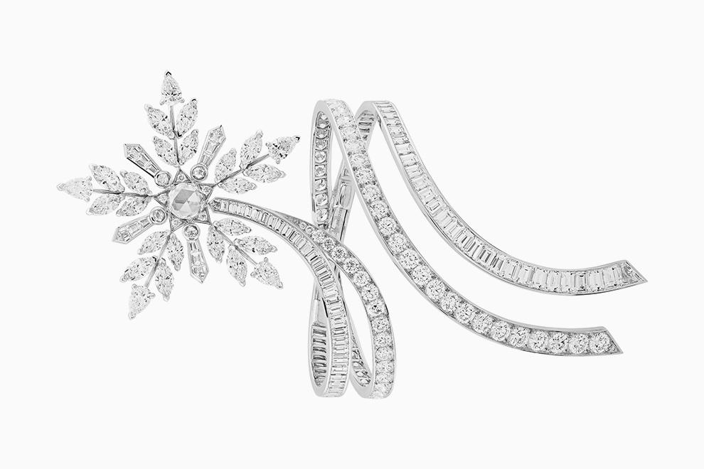 Кольцо со снежинкой из белого золота
