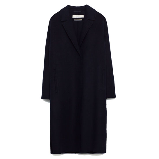 Черное шерстяное пальто Zara ручной работы