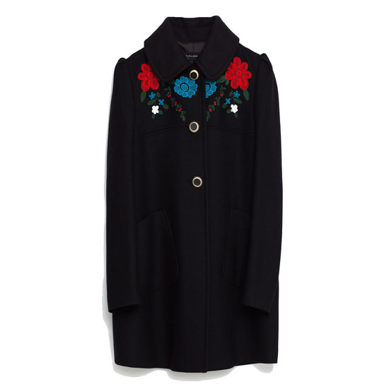 Женское пальто с вышивкой Zara