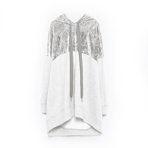 Женское худи Zara с бархатной вставкой